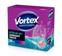 Таблетки для посудомоечной машины бесфосфатные all in 1 (20шт), Vortex
