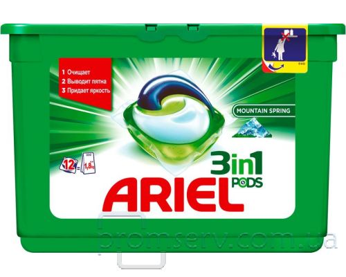 Капсулы-гель для стирки Горный источник (25,2г*12шт), Ariel