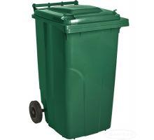 Бак мусорный на колесах с крышкой, пластик, зеленый (240л), Украина