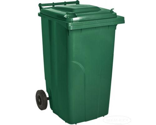 Бак мусорный на колесах с крышкой пластик зеленый 240л Украина