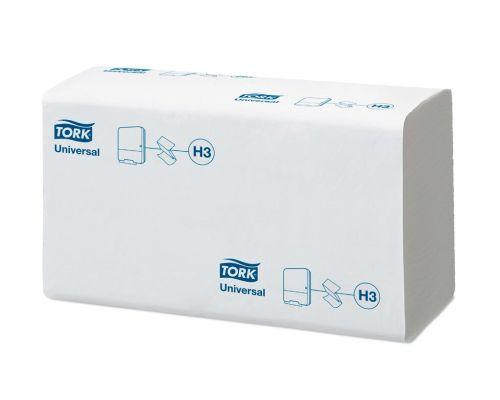 Полотенца бумажные листовые мягкие Universal H3, V белые 1-но сл., 300л, Tork 290158