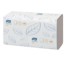 Полотенца бумажные листовые супер мягкие Premium H2, Z белые 2-х сл., 110л, Tork Xpress 100288