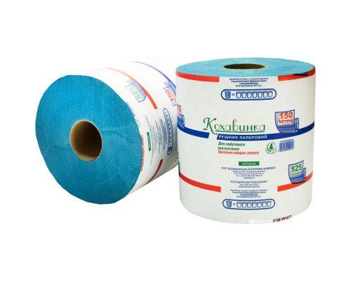 Полотенца бумажные рулон. на гильзе синие (200*200/60), Кохавинка