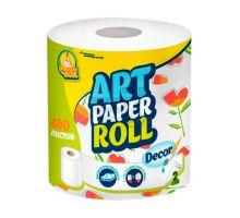 Полотенца бумажные рулон. с центр. витяж. белые с рисунком Art 2-х сл., 22*22,5см (400л), ФБ