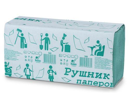Полотенца бумажные листовые V зеленые 160 листов Альбатрос