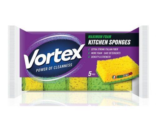 Губка кухонная 3,7*9,6*6,7см (5шт), Vortex