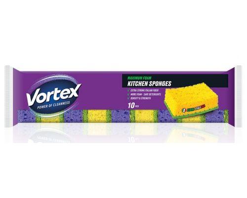 Губка кухонная 3*8,8*5,8см (10шт), Vortex