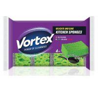 Губка кухонная для деликатного мытья 3,7*9,6*6,7см (4шт), Vortex