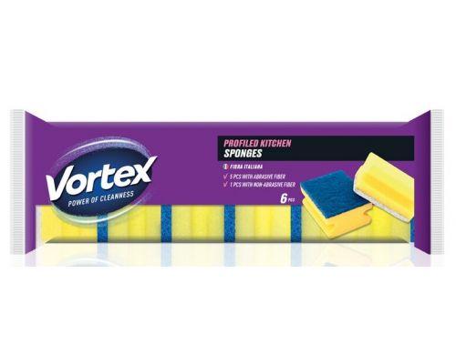 Губка кухонная профилированная 4,5*8,3*6см (6шт), Vortex