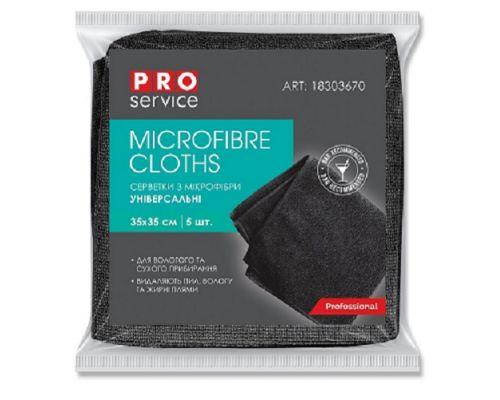 Салфетка микрофибра универсальная BAR AREA черная 35*35см (5шт), PROservice