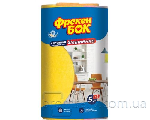Салфетка вискозная универсальная Фламенко 30*38см (5+1шт), ФБ