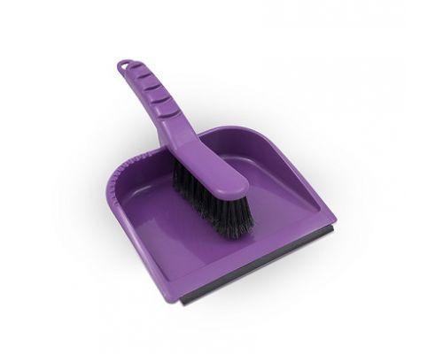 Комплект для уборки YAGA LUX пластик совок + щетка с резинкой AGD 0644