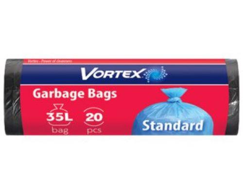 Пакет для мусора черный 35л*20шт (50*60см), Vortex