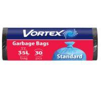 Пакет для мусора черный 35л*30шт (50*60см), Vortex