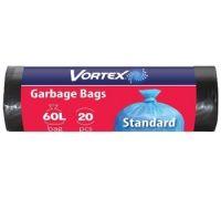 Пакет для мусора черный 60л*20шт (60*80см), Vortex