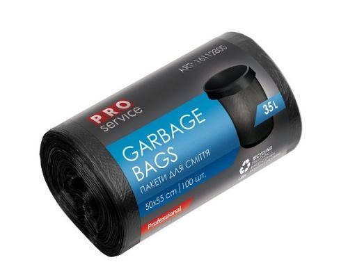 Пакет для мусора черный HD 35л*100шт (50*55см), PROservice
