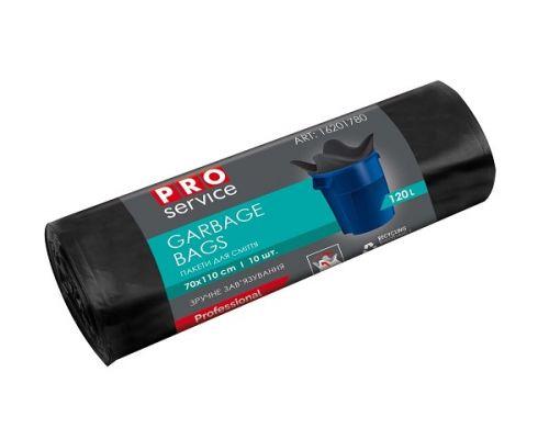 Пакет для мусора с ушками черный LD 120л*10шт (70*110см), PROservice