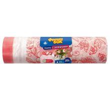 Пакет для мусора с завязками белый с цветами HD 35л*15шт (51*53см), ФБ