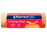 Пакет для мусора с завязками оранжевый Стандарт 20л*20шт, Vortex