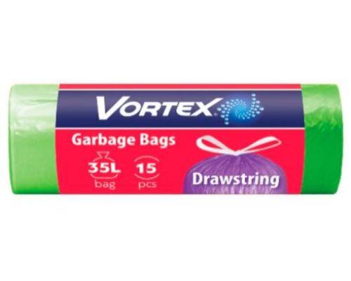Пакет для мусора с завязками зеленый HD Стандарт 35л*15шт (51*53), Vortex