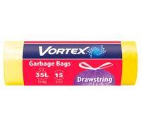 Пакет для мусора с завязками желтый HD Стандарт 35л*15шт (51*53), Vortex