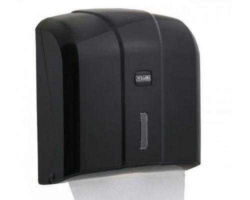 Диспенсер листовых полотенец Z, V пластик черный Vialli K.4-B