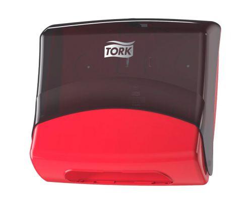 Диспенсер для протир. материалов в салфетках настенный W4, красно-черный, Tork 654008