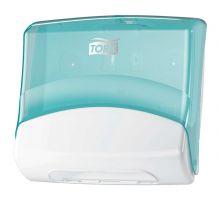 Диспенсер для протир. материалов в салфетках настенный W4, пластик голубо-белый, Tork 654000