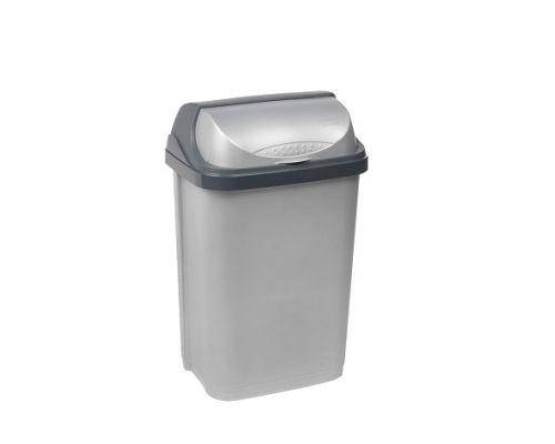 Ведро мусорное с крышкой ROLLTOP пластик, серебро (10л), KEE 0453.1