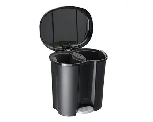Ведро мусорное с педалью двухсекционное DUO пластик (20л), RTH 17601