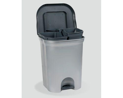 Ведро мусорное с педалью StepClose DUO пластик, 2 ведра (11л), KEE 1536