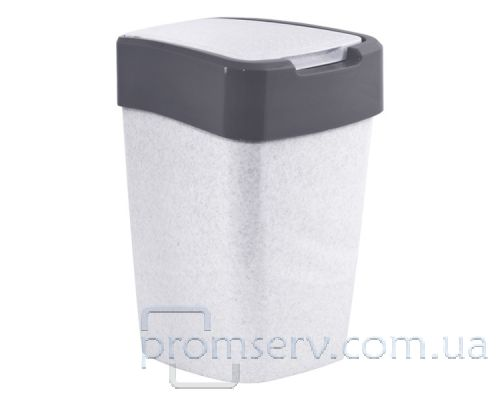 Ведро мусорное с плоской крышкой пластик белое 45л Украина
