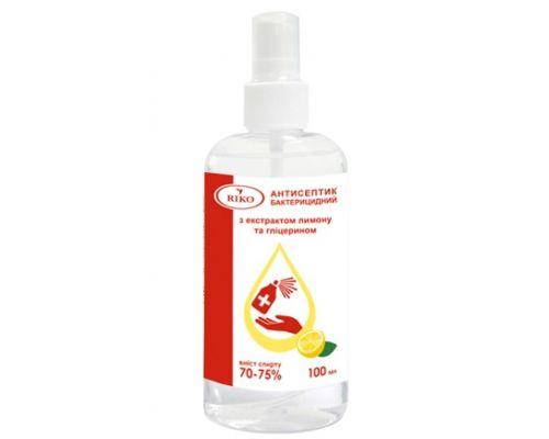 Дезинфицирующее средство спиртовое с распылителем лимон (100мл), Riko