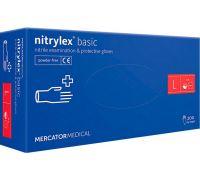 Перчатки нитриловые нестерильные синие Nitrylex Basic, L (100пар/уп)