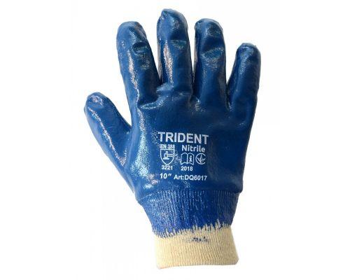 Перчатки трикотажные с полным 2-х сл. нитриловым покрытием TRIDENT, синие (10р.)