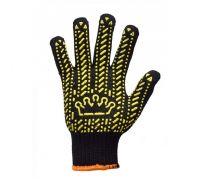 Перчатки трикотажные с ПВХ точкой Корона, черные (кл.7)