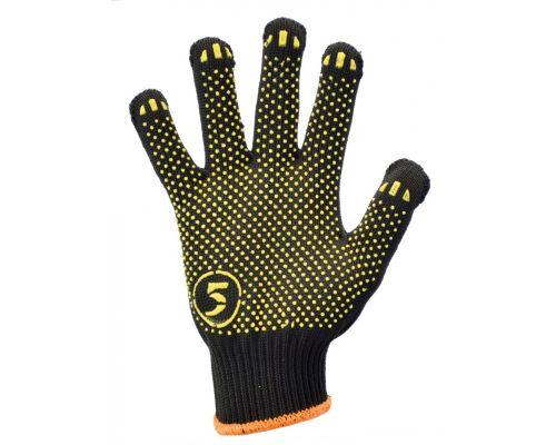 Перчатки трикотажные с ПВХ точкой Корона облегченные, черные (кл.10)
