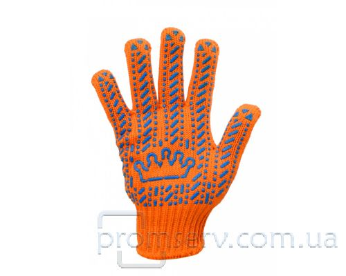Перчатки трикотажные с ПВХ точкой Корона, оранжевые (кл.7)
