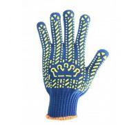 Перчатки трикотажные с ПВХ точкой Корона, синие (кл.7)