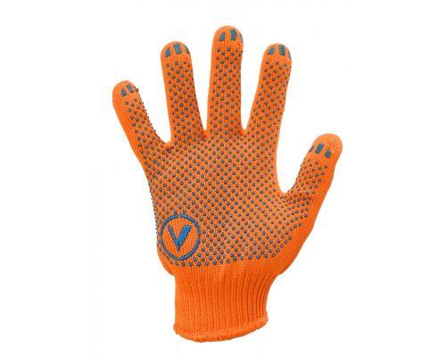 Перчатки трикотажные с ПВХ точкой ORANGE, оранжевые (кл.10)