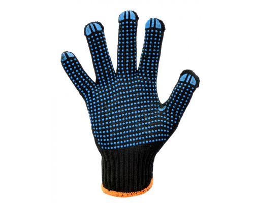 Перчатки трикотажные с ПВХ точкой POWER черные класс 7