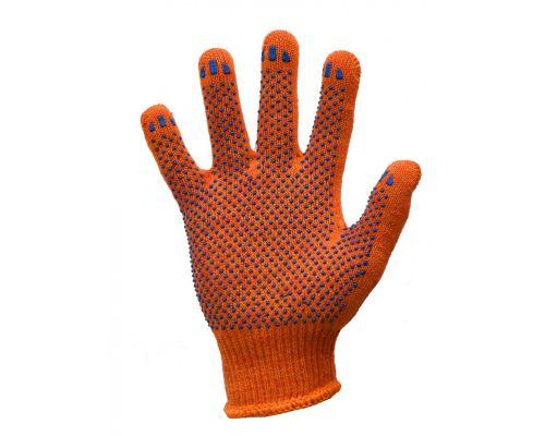 Перчатки трикотажные с ПВХ точкой STANDART оранжевые класс 10