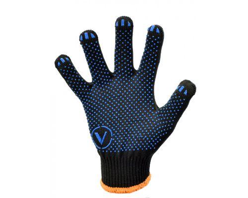 Перчатки трикотажные с ПВХ точкой TOP черные класс 10