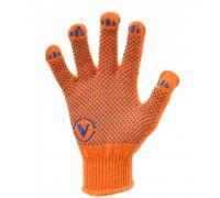 Перчатки трикотажные с ПВХ точкой TOP, оранжевые (кл.10)