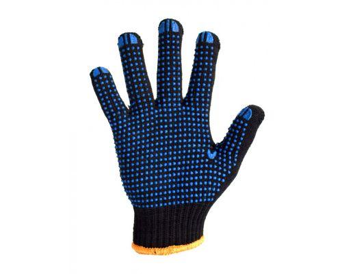 Перчатки трикотажные с ПВХ точкой TWIST, черные (кл.7)